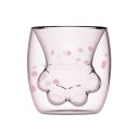 Cute Cartoon Cat Paw Double-Decker Glass Mug Cup for Gift