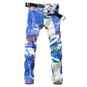 Guys Stylish Street Style Graffiti Stretch Slim Fit Blue Jeans (Pictures for Reference)