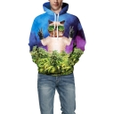 Cool Pose Cat with Glasses 3D Weed Pattern Loose Casual Drawstring Hoodie