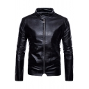 Cool Simple Black Long Sleeve Band Collar Zip Up Leather Jackets