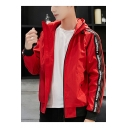 Hot Fashion Letter Stripe Printed Drawstring Hooded Zip Up Sport Casual Track Jacket for Guys