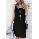 Summer Basic Round Neck Sleeveless Simple Plain Loose Asymmetrical Midi Tank Dress