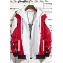 Fashionable Letter Pattern Color Block Long Sleeve Zip Up Hooded Track Jacket