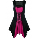 Sexy Trendy Lace-Up Front Lace-Trimmed Square Neck Sleeveless Mini Asymmetrical Dress
