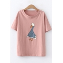 Cute Cartoon Duck Pattern Short Sleeve Round Neck Loose Casual Cotton T-Shirt