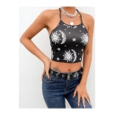 Summer New Trendy Funny Cartoon Sun and Moon Printed Halter Neck Black Cropped Cami Top