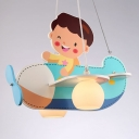 Cartoon Airplane 2 Light Hanging Light with White Glass Shade Chandelier for Nursing Room