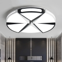Modernism Simple Sector Ceiling Fixture Metallic LED Lighting Fixture in Black/White for Sitting Room
