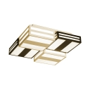 Square LED Ceiling Lamp Modern Chic Metallic Art Deco Indoor Lighting with Stripes in Warm/White