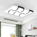 Acrylic Ripple Ceiling Fixture Simple Concise LED Flush Light Fixture in Black and White for Study Room