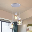 3/5 Lights Drum Suspension Light with Bird Decoration Living Room Clear Glass Ceiling Pendant Light in White