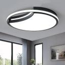 Black/White Crescent Flush Light Modern Acrylic Surface Mount LED Light for Restaurant Study Room
