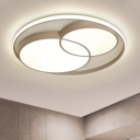 Living Room Ultra Thin Ceiling Fixture with Single Ring Modernism Acrylic LED Flush Light in Black/White