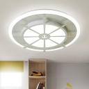 White Round Rudder Flush Mount Nordic Style Acrylic Surface Mount LED Light for Children Room