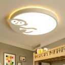 Kindergarten Circular Flush Light Fixture with Cute Monkey Simple Concise Acrylic LED Flushmount in White