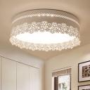 Metallic Drum Flush Mount with Flower Design Porch Foyer LED Surface Mount Ceiling Light in White