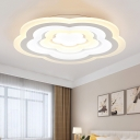 Ultra Thin Flower Flush Ceiling Light Living Room Coffee Shop LED Flush Mount with Acrylic Shade in White