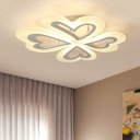 Heart Shape Semi Flushmount Modern Chic White Acrylic LED Semi Ceiling Lamp for Baby Kids Room