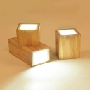 Wooden Cubic LED Ceiling Light Nordic Simple Corridor Hallway Flush Mount Lighting