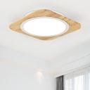 Wooden Oblong LED Flush Mount Boys Girls Bedroom Energy Saving Flush Light Fixture in Warm/White
