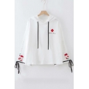 Girls Cute Simple Floral Embroidered Drawstring Cuff White Casual Hoodie