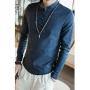Chinese Style Retro Frog Button Stand-Collar Long Sleeve Mens Fitted Linen Shirt