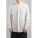 Chinese Style Retro Mandarin Collar Concealed Button-Front Solid Linen Shirt for Men