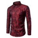 Mens New Trendy Bright Silk Floral Night Club Fitted Button-Front Party Shirt