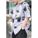 Summer Retro Newspaper Pattern Casual Loose Short Sleeve White Shirt for Guys