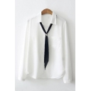 New Fashion Tie Collar Long Sleeve Single Pocket Chest Solid Blouse for Women