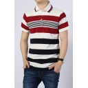 Men's Summer Comfort Cotton Contrast Tipped Collar Short Sleeve Striped Red Casual Polo