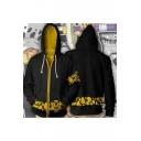 Cool Pattern Cosplay Costume Comic Long Sleeve Zip Up Black Hoodie