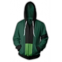 Fashion 3D Printed Comic Cosplay Costume Full Zip Green Drawstring Hoodie