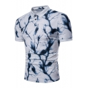 Cool Unique Feather Lightning Pattern Short Sleeve Fitted Polo Shirt for Men