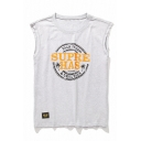 Summer Simple Letter SUPER Printed Round Neck Sleeveless Cotton Loose Tank Top