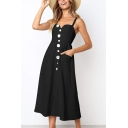 Womens Fashion Simple Plain Button Down Midi A-Line Cami Dress with Pocket