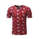 Summer Trendy Leaf Plants Printed V-Neck Short Sleeve Slim T-Shirt for Guys