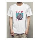 Monster Series Cartoon Print Basic Short Sleeve Hip Hop White T-Shirt