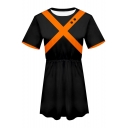 My Hero Academia Cosplay Costume Short Sleeve Mini A-Line Black T-Shirt Dress