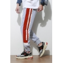 Mens Street Style Colorblock Letter Print Side Drawstring Waist Casual Cotton Sweatpants