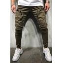 Mens Cool Unique Zip Pocket Stretch Sporty Plain Cotton Skinny Pencil Pants