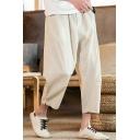 Summer New Trendy Basic Plain Casual Loose Linen Straight-Leg Cropped Pants for Men