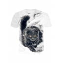 3D Cute Cat Printed Short Sleeve Round Neck White T-Shirt