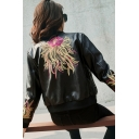Women's Fashion Floral Embroidery Zippered Cropped Leather Jacket with Pockets
