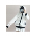 Panda Pattern Long Sleeve Zip Up Hooded Fur Coat