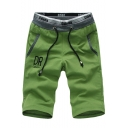 Summer New Trendy Drawstring Waist Sport Athletic Cotton Active Shorts for Men