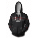 Overwatch Cool 3D Printed Cosplay Costume Zip Up Long Sleeve Fitted Casual Black Hoodie