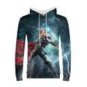 Thor Cool 3D Film Figure Print Loose Sport Long Sleeve Blue Hoodie