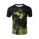 Cool 3D Film Figure Printed Short Sleeve Black T-Shirt