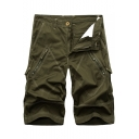 New Stylish Solid Color Multi-Pocket Zip Pocket Mens Cotton Casual Cargo Shorts